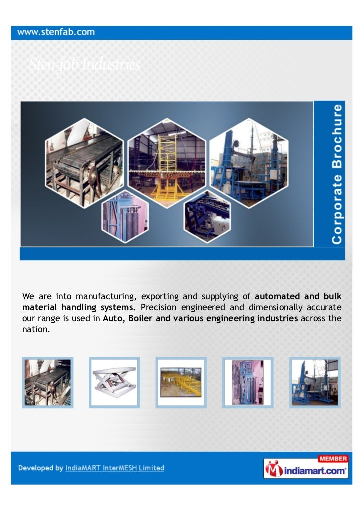 We are into manufacturing, exporting and supplying of automated and bulkmaterial handling systems. Precision engineered an...