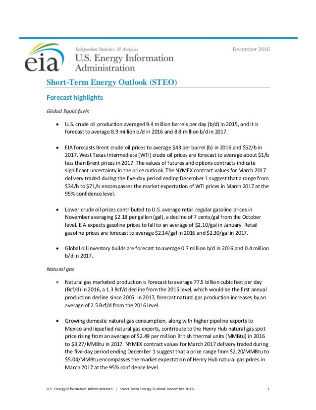 U.S. Energy Information Administration | Short-Term Energy Outlook December 2016 1 December 2016 Short-Term Energy Outlook...