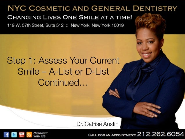 Step 1: Assess Your Current Smile – A-List or D-List Continued…  Dr. Catrise Austin