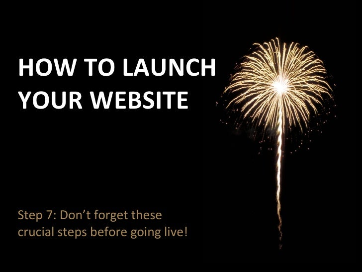 Step 7: How To Launch Your Website