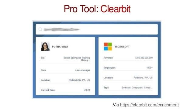 Pro Tool: Clearbit Via https://clearbit.com/enrichment