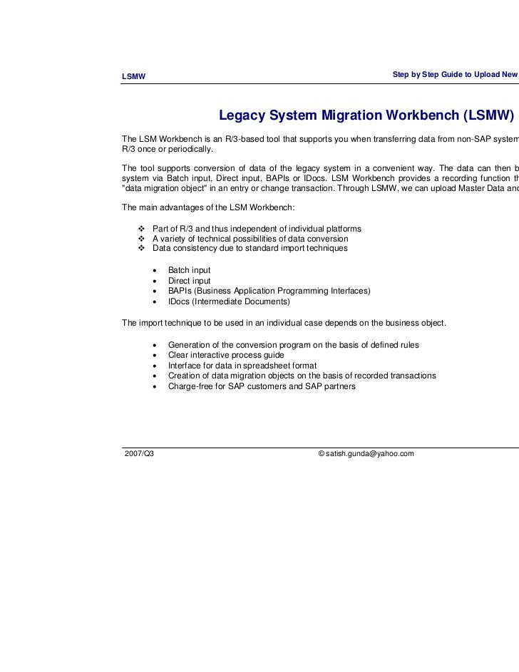 step by step to upload new customer master record with lsmw