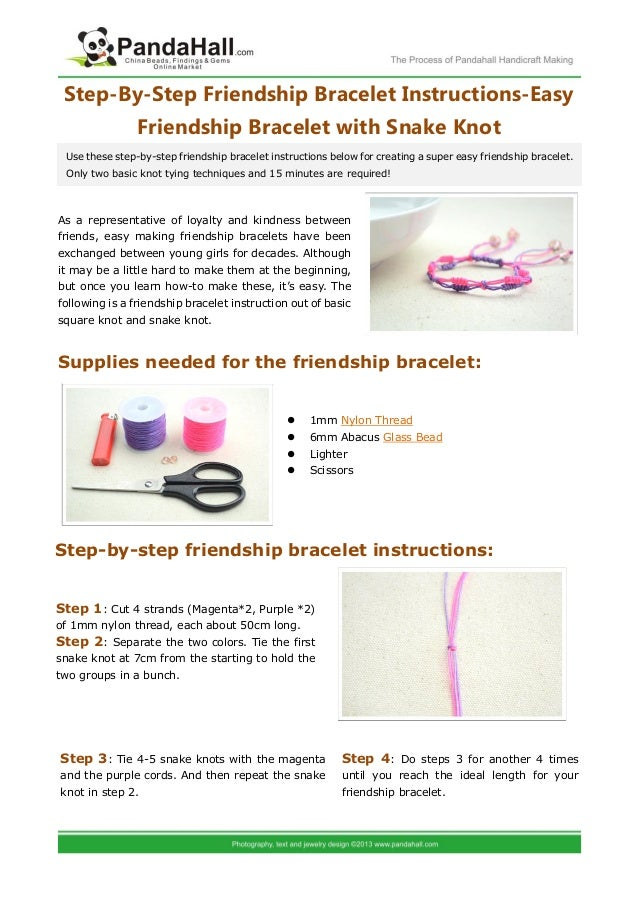 Step By Step Friendship Bracelet Instructions Easy Friendship Bracele
