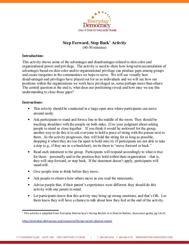 Step Forward, Step Back1 Activity (40-50 minutes) Introduction: This activity shows some of the advantages and disadvantag...