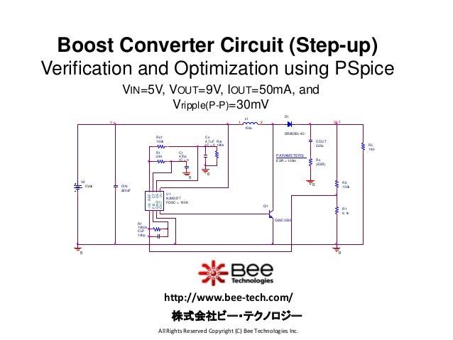 Boost Converter Circuit (Step-up) Verification and Optimization using PSpice VIN=5V, VOUT=9V, IOUT=50mA, and Vripple(P-P)=...