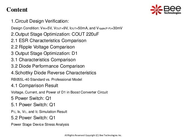All Rights Reserved Copyright (C) Bee Technologies Inc. Content 1.Circuit Design Verification: Design Condition: VIN=5V, V...