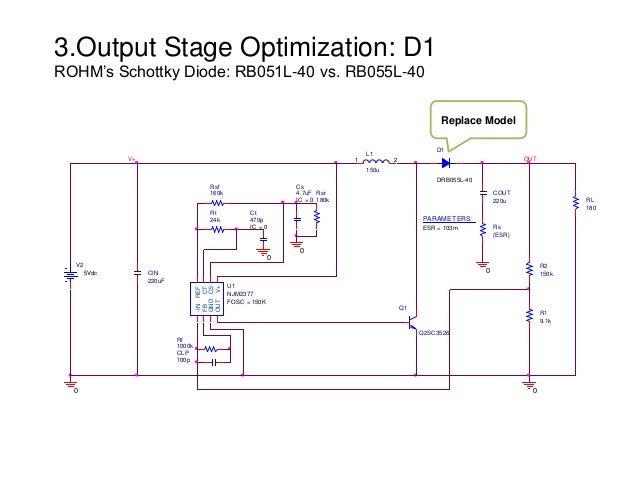 3.Output Stage Optimization: D1 ROHM's Schottky Diode: RB051L-40 vs. RB055L-40 L1 150u 1 2 CLP 100p Q1 Q2SC3526 Rf 1000k R...