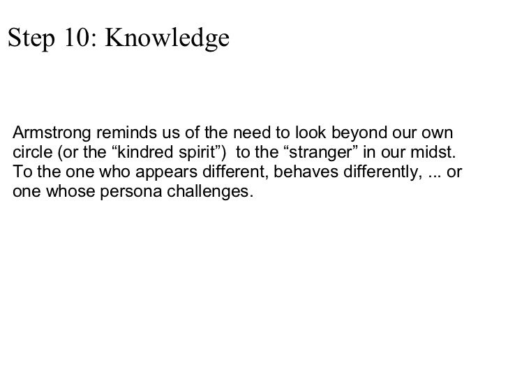 """Step 10: Knowledge <ul><li>Armstrong reminds us of the need to look beyond our own circle (or the """"kindred spirit"""") to th..."""