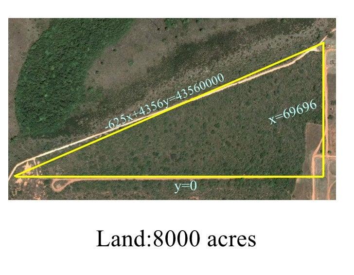 Land:8000 acres y=0 x=69696 -625x+4356y=43560000