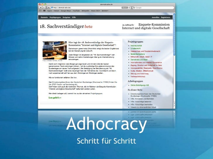 Adhocracy Schritt für Schritt
