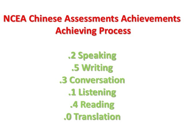 NCEA Chinese Assessments Achievements Achieving Process  .2 Speaking .5 Writing .3 Conversation .1 Listening .4 Reading .0...