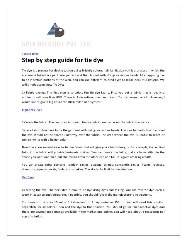 Step By Step Guide For Tie Dye