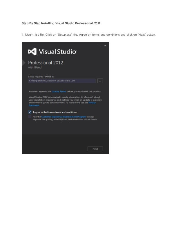 Step by step installing for installing visual studio