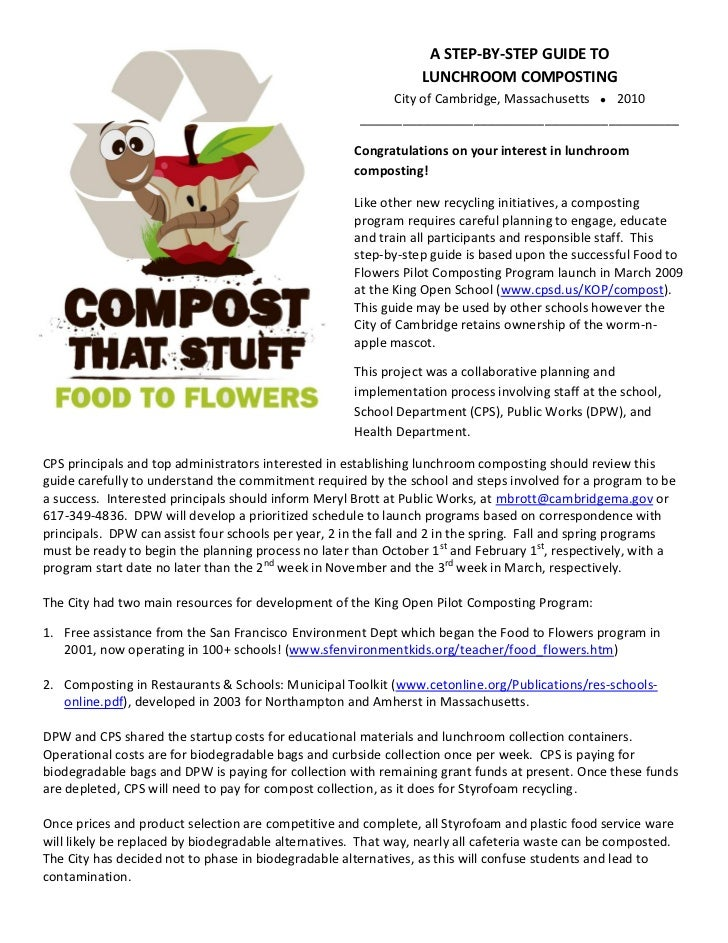 A STEP-BY-STEP GUIDE TO                                                                 LUNCHROOM COMPOSTING              ...
