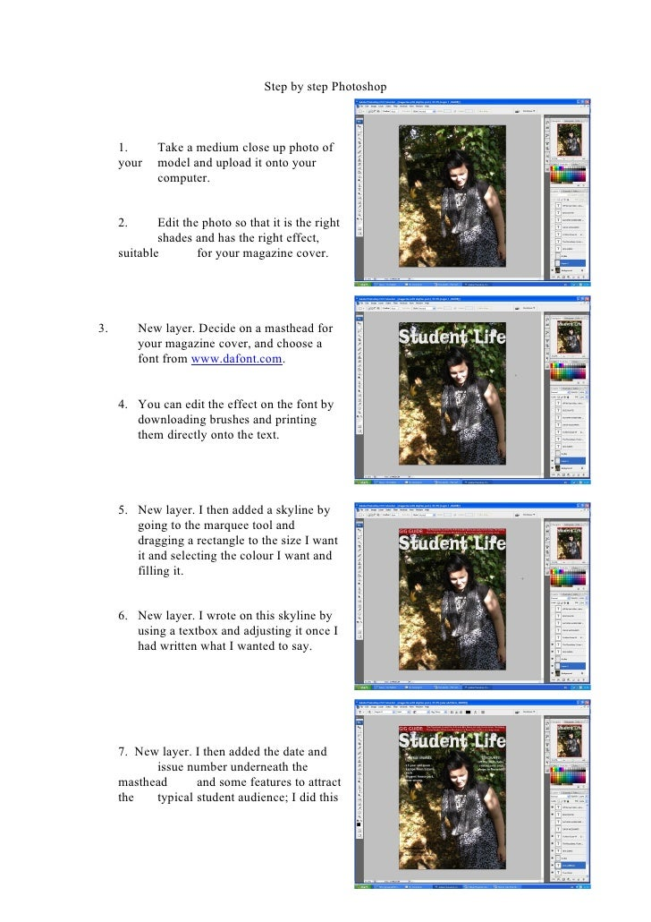Step by step Photoshop         1.      Take a medium close up photo of      your    model and upload it onto your         ...