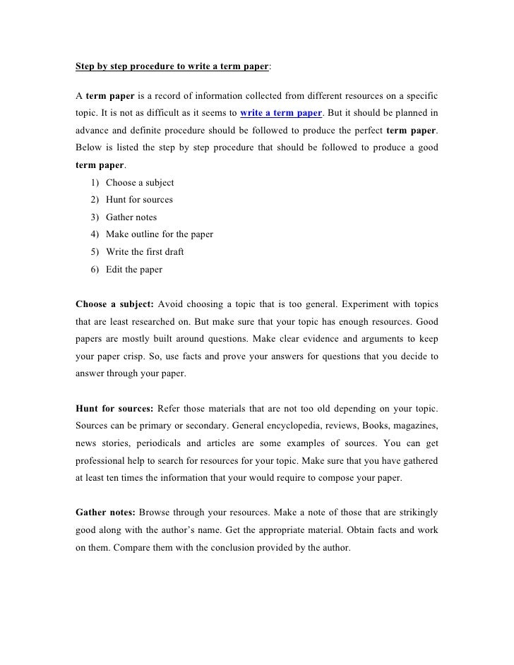 how to prepare a term paper
