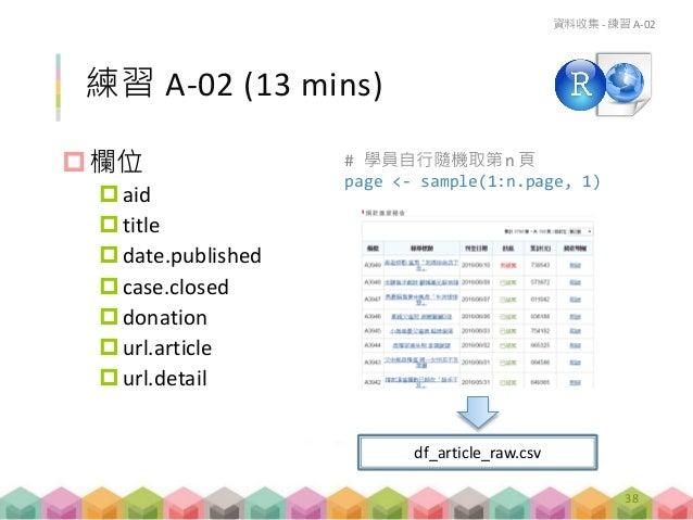 欄位 aid title date.published case.closed donation url.article url.detail 練習 A-02 (13 mins) 資料收集 - 練習 A-02 df_articl...