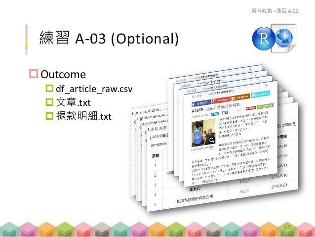 練習 A-03 (Optional) Outcome df_article_raw.csv 文章.txt 捐款明細.txt 資料收集 - 練習 A-03 42