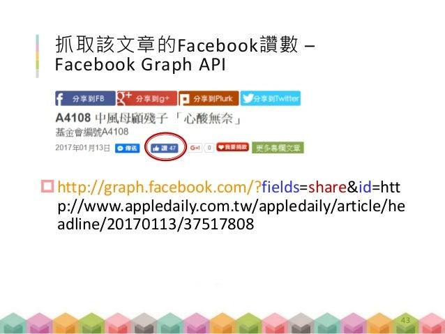 抓取該文章的Facebook讚數 – Facebook Graph API http://graph.facebook.com/?fields=share&id=htt p://www.appledaily.com.tw/appledaily...