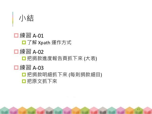 小結 練習 A-01 了解 Xpath 運作方式 練習 A-02 把捐款進度報告頁抓下來 (大表) 練習 A-03 把捐款明細抓下來 (每則捐款細目) 把原文抓下來 45