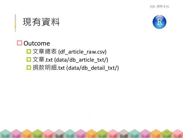 現有資料 Outcome 文章總表 (df_article_raw.csv) 文章.txt (data/db_article_txt/) 捐款明細.txt (data/db_detail_txt/) EDA- 講解 B-01 52