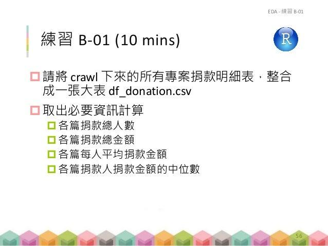 練習 B-01 (10 mins) 請將 crawl 下來的所有專案捐款明細表,整合 成一張大表 df_donation.csv 取出必要資訊計算 各篇捐款總人數 各篇捐款總金額 各篇每人平均捐款金額 各篇捐款人捐款金額的中位數 E...