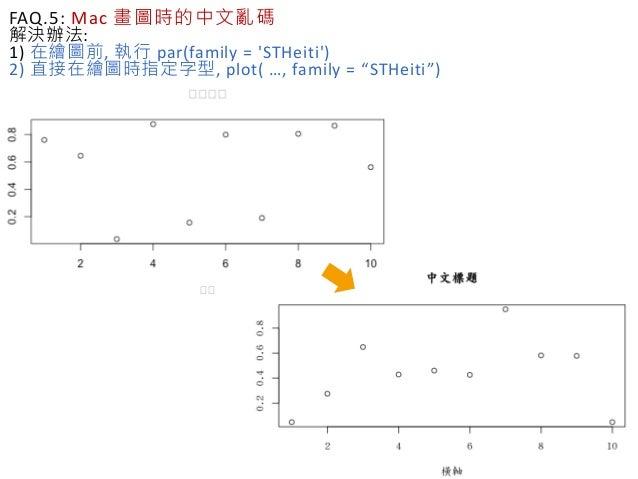 "FAQ.5: Mac 畫圖時的中文亂碼 解決辦法: 1) 在繪圖前, 執行 par(family = 'STHeiti') 2) 直接在繪圖時指定字型, plot( …, family = ""STHeiti"")"