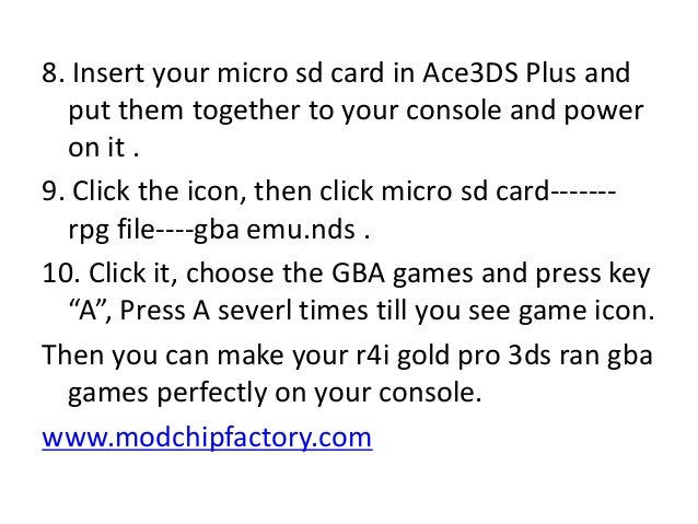 Step by steps guide on how to use R4i gold pro 3ds play gba