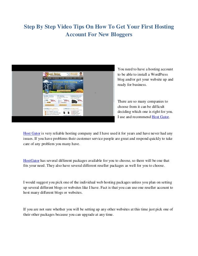 Step By Step Video Tips On How To Get Your First Hosting Account For New Bloggers You need to have a hosting account to be...