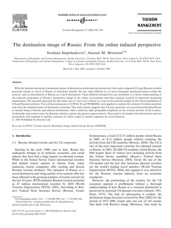 ARTICLE IN PRESS                                                       Tourism Management 27 (2006) 943–956               ...