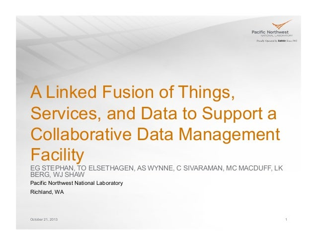 A Linked Fusion of Things, Services, and Data to Support a Collaborative Data Management Facility EG STEPHAN, TO ELSETHAGE...