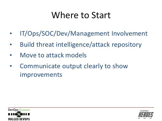 Where to Start • IT/Ops/SOC/Dev/Management Involvement • Build threat intelligence/attack repository • Move to attack mode...