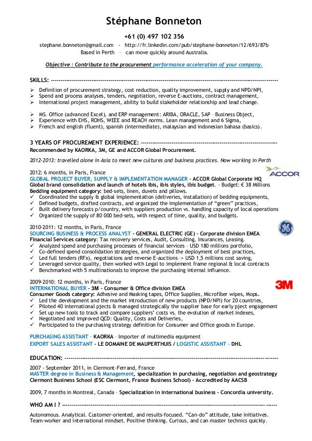 stephane bonneton cv experienced procurement specialist - Procurement Resume Sample