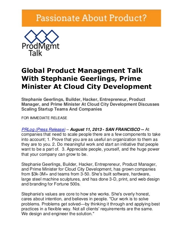 Global Product Management Talk With Stephanie Geerlings, Prime Minister At Cloud City Development Stephanie Geerlings, Bui...