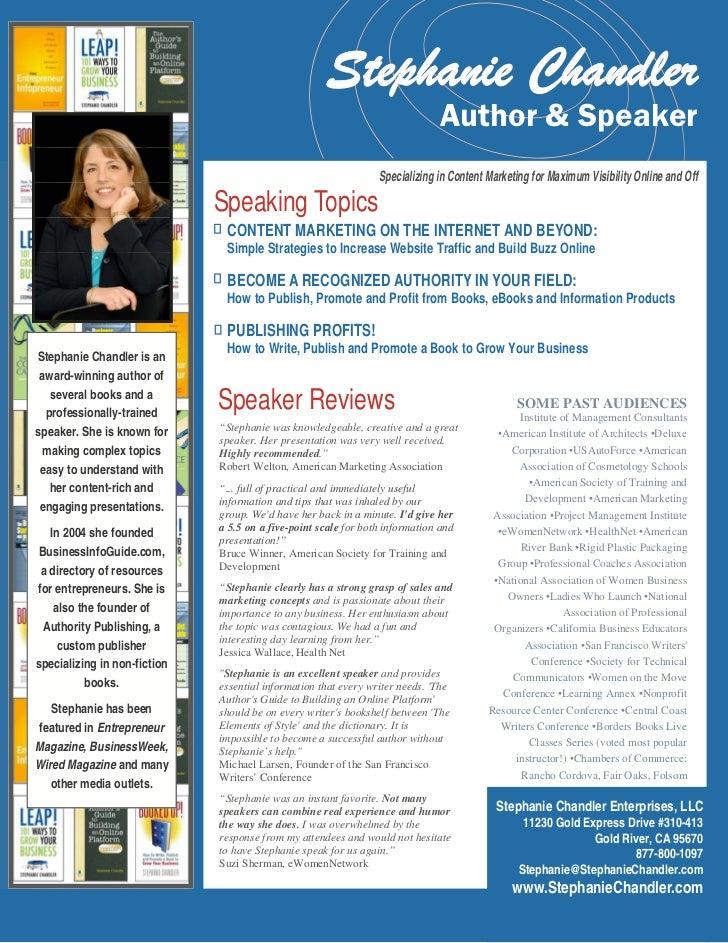 Stephanie Chandler                                                                              Author & Speaker          ...