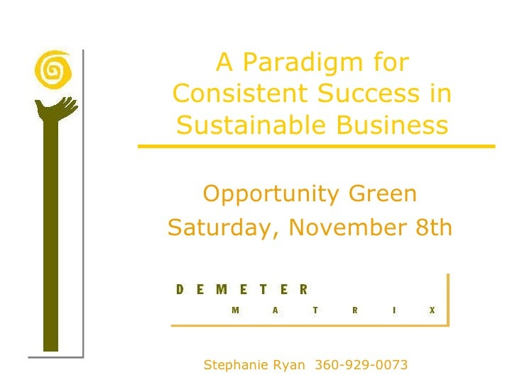 A Paradigm for Consistent Success in Sustainable Business Opportunity Green Saturday, November 8th Stephanie Ryan  360-929...