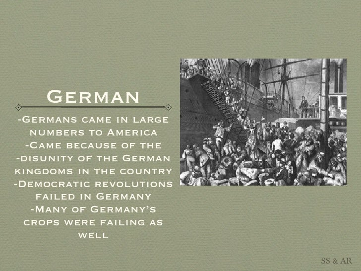 immigration 1800 In the mid 1800s, many immigrants were irish and german while many of them  were looking for new job opportunities, many were also trying to escape.