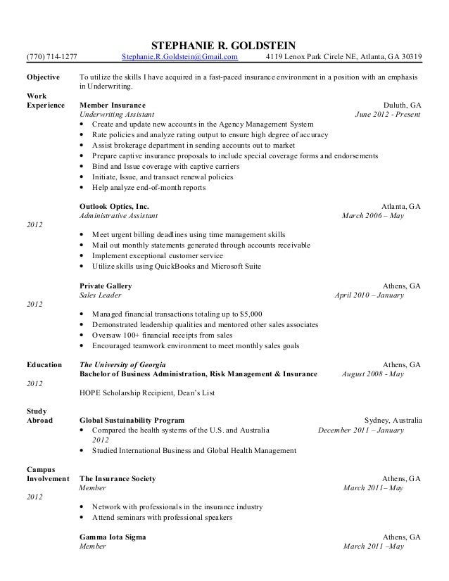 stephanie goldstein resume - Underwriting Assistant Resume