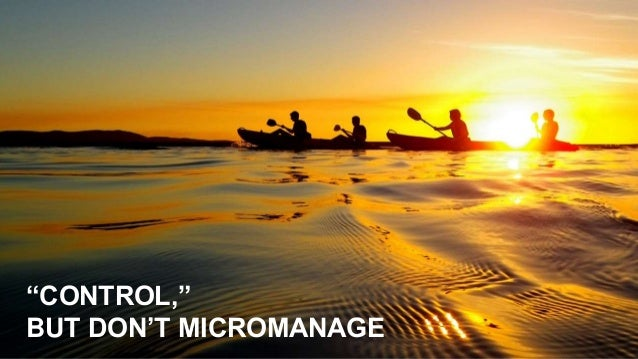 """""""CONTROL,"""" BUT DON'T MICROMANAGE"""
