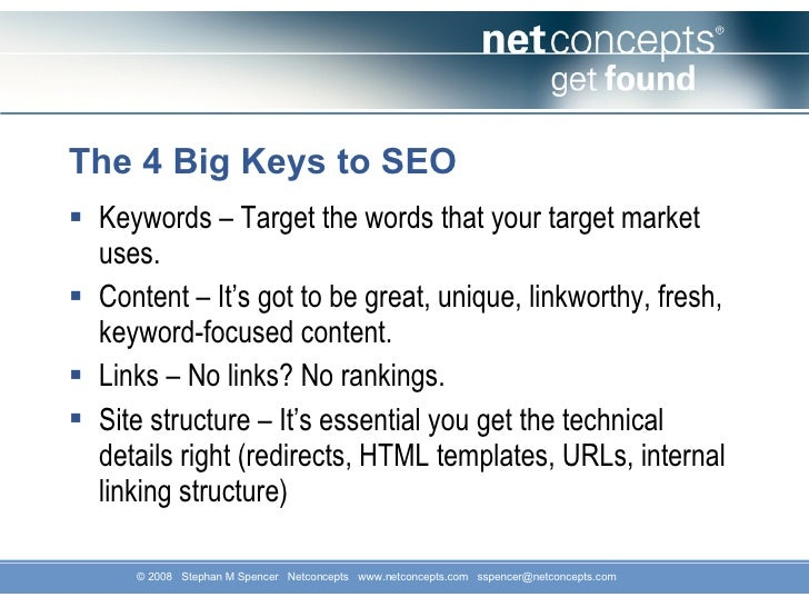 Searching for Users: SEO as an Engine for Customer Acquisition (Stephan Spencer, Startonomics SF 2008) Slide 2