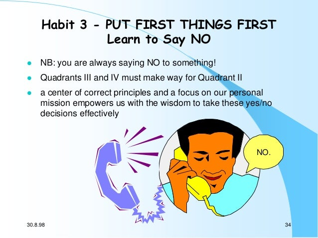 Habit 3 - PUT FIRST THINGS FIRST Learn to Say NO   NB: you are always saying NO to something!    Quadrants III and IV mu...