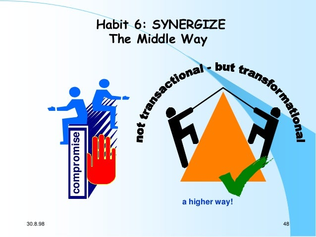compromise  Habit 6: SYNERGIZE The Middle Way  a higher way! 30.8.98  48