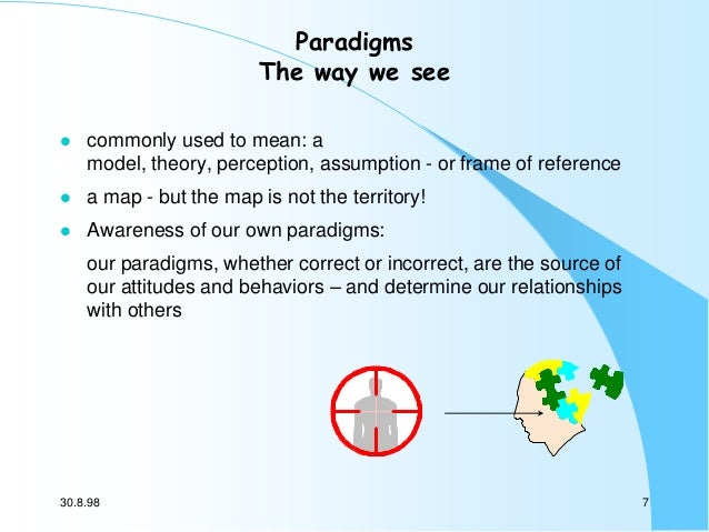 Paradigms The way we see   commonly used to mean: a model, theory, perception, assumption - or frame of reference    a m...