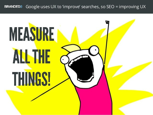 Google uses UX to 'improve' searches, so SEO = improving UX
