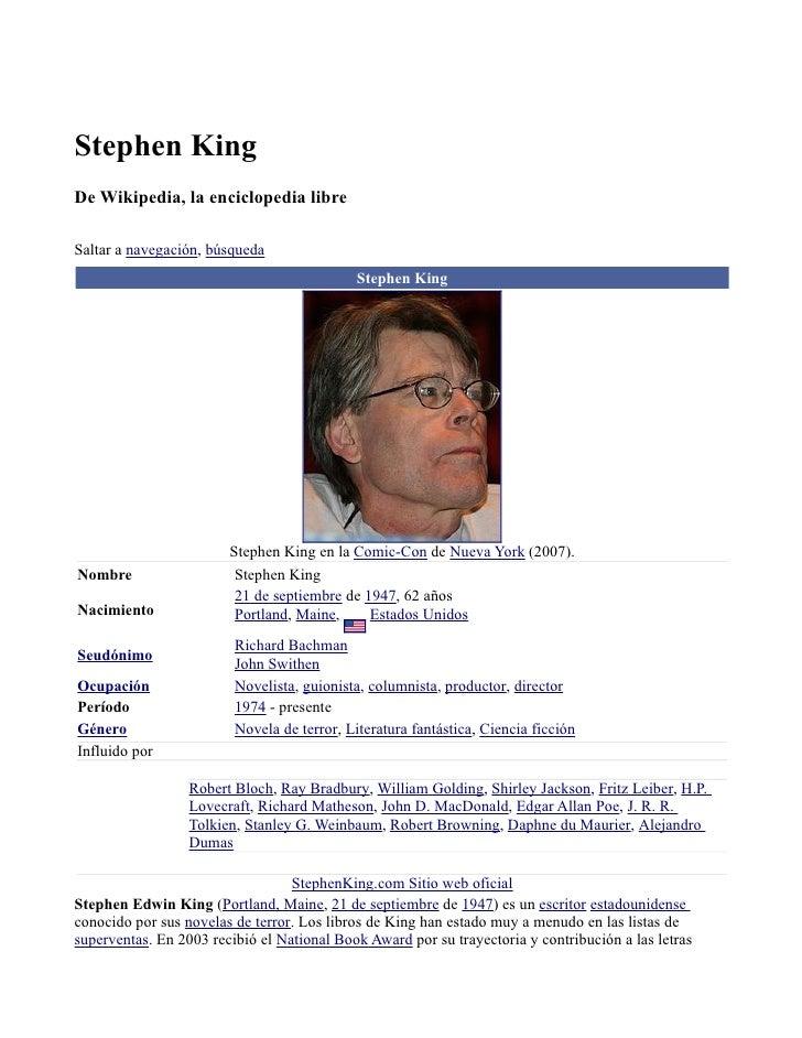 Stephen King De Wikipedia, la enciclopedia libre  Saltar a navegación, búsqueda                                           ...