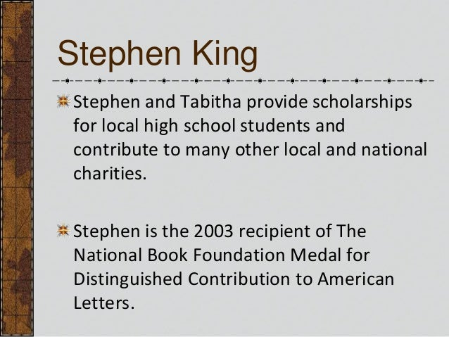 the life and accomplishments of stephen king Stephen king is a famous american author known for his horror and suspense books this biography of stephen king provides detailed information about his childhood, life, achievements, works & timeline.