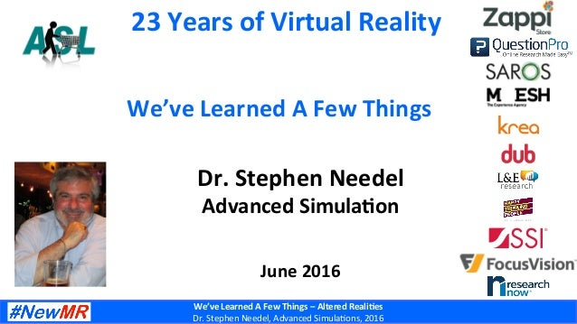We've	   Learned	   A	   Few	   Things	   –	   Altered	   Reali7es	    Dr.	   Stephen	   Needel,	   Advanced	   Simula6ons...