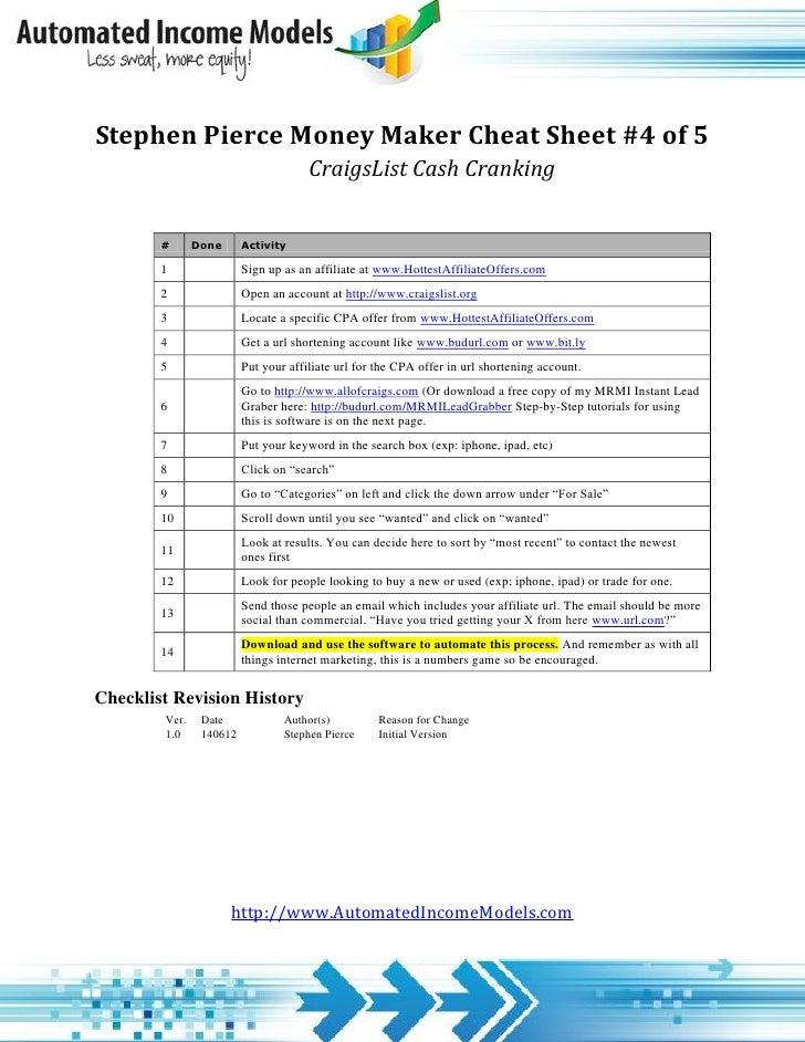 Stephen Pierce Money Maker Cheat Sheet #4 of 5                                      CraigsList Cash Cranking        #     ...