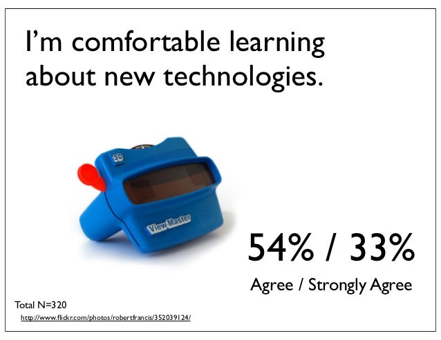 I'm comfortable learning  about new technologies.                                                        54% / 33%        ...