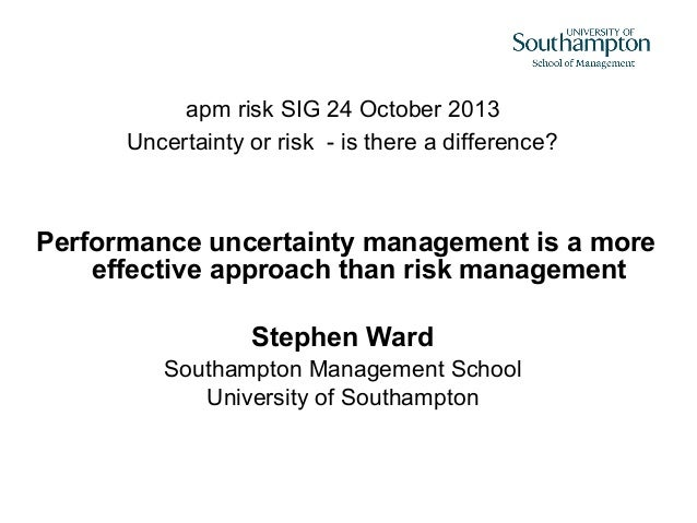 apm risk SIG 24 October 2013 Uncertainty or risk - is there a difference?  Performance uncertainty management is a more ef...